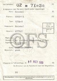 Kentekenbewijs (Heinkel)
