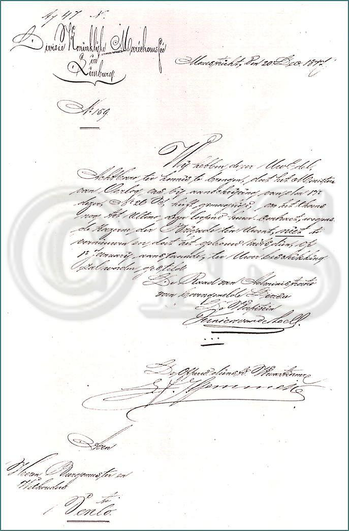 Ambtsbrief van 20 december 1877 (Limburgse Gewesten)