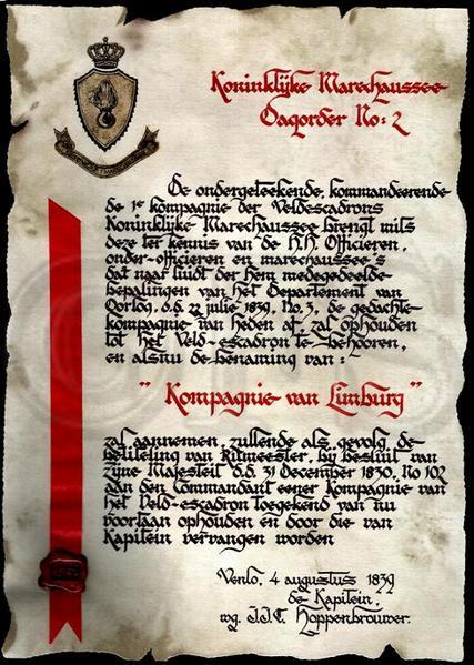 Eerste Dagorder (Uitzetten Brigade in Venlo)