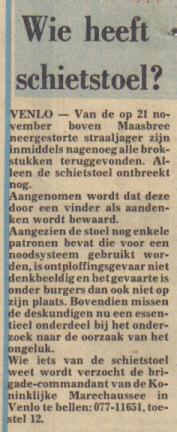 Krantenartikel over de schietstoel (Maasbree)